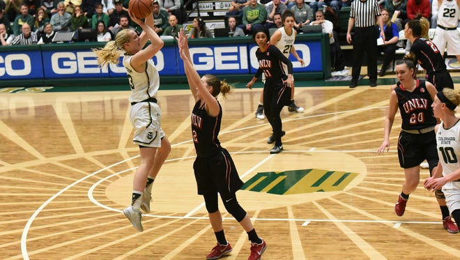 CSU's Ellen Nystrom takes a shot during the Rams 44-41 win over UNLV on Saturday. Nystrom finished with nine points.