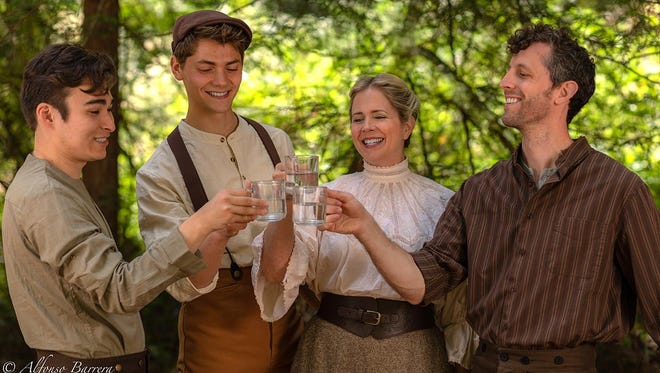 The Tuck family — from left, Miles (played by Kevin Tanner), Jesse (Cole Zieser), Mae (Beavan Walters) and Angus (Nathan Drackett) drink to their health.
