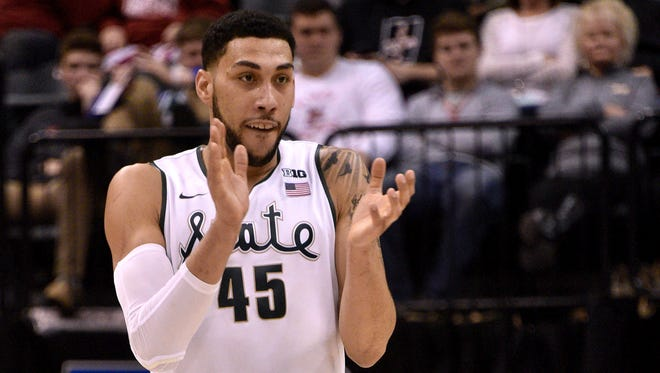"Denzel Valentine said joining the distinguished list of previous George Alderton Male Athlete of the Year winners is ""humbling."""