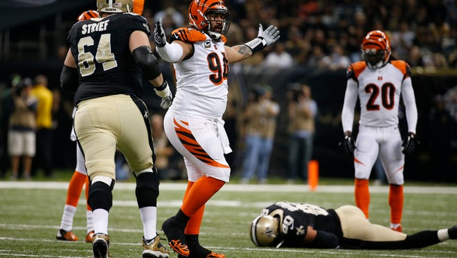 The Cincinnati Bengals defensive tackle Domata Peko (94) reacts after a call in the first half against the New Orleans Saints at the Superdome in New Orleans.  The Enquirer/Jeff Swinger