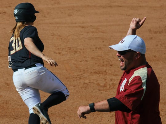 Jessica Warren rounds the bases after hitting a two-run home run in the third inning of FSU's 3-0 win over Utah.