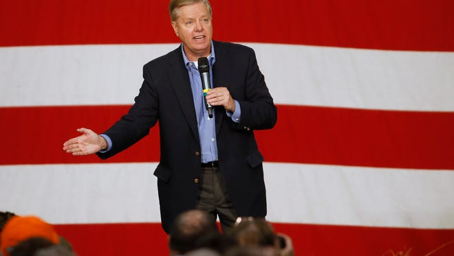 Republican presidential candidate Lindsey Graham speaks Saturday, Oct. 31, 2015, during the Growth and Opportunity Party at the Iowa State Fairgrounds in Des Moines.