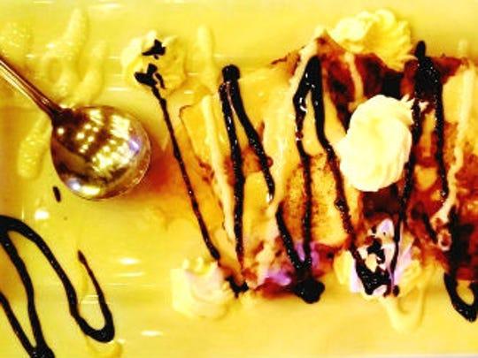 Crawdaddy's chocolate banana bread pudding was served
