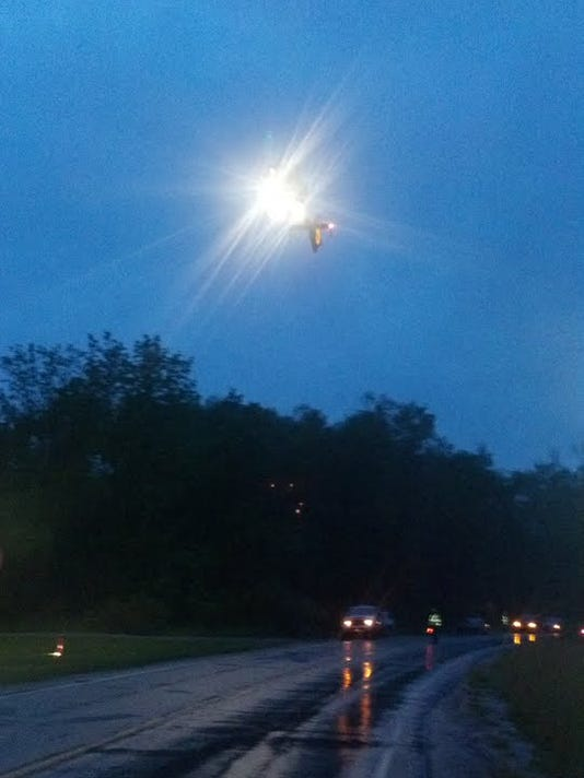 One of several pictures I took with my new cellphone at an accident Tuesday night, this shows a medical helicopter descending toward a field in Oxford Township. A woman from New Oxford was soon flown out to York Hospital in this helicopter.