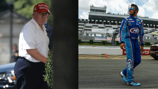 President Donald Trump (left) posted a tweet Monday about NASCAR driver Bubba Wallace (right).