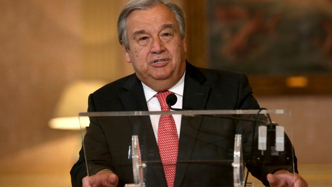 The newly appointed Secretary General of the United Nations, Antonio Guterres, reads a statement at Lisbon's Necessidades palace after the formal election took place this morning at the organization's headquarters on Oct. 6, 2016.