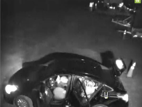 Surveillance footage of a Fishersville larceny suspect's car.