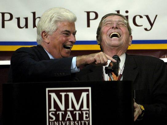 Sen.Christopher J. Dodd, D-Conn., left, shares a good