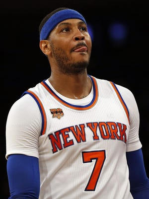 New York Knicks forward Carmelo Anthony (7) says he's tired of the drama around the team.
