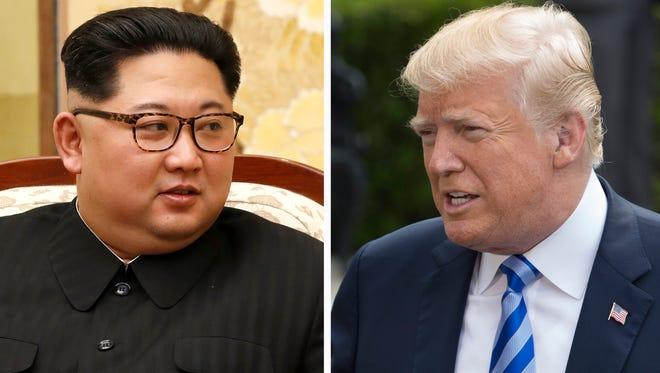 North Korea leader Kim Jong Un (left) and President Trump (right).