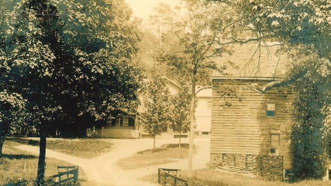 John Dewitt's mill, right, sits along today's South Creek Road just south of Hollow Road. The mill store, center, still exists, as does Dewitt's 18th-century home.