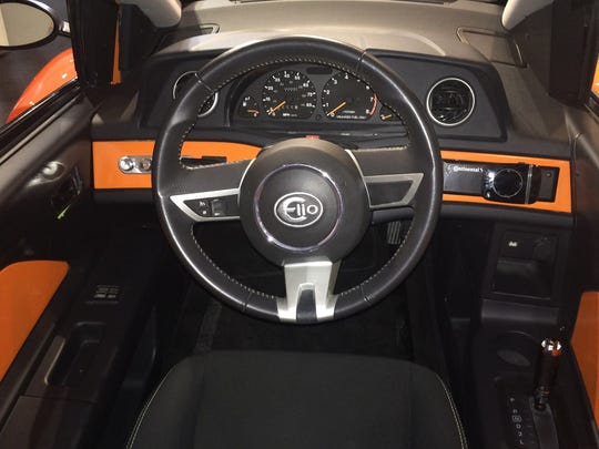 An interior view of Elio Motors' Elio P4, the newest prototype of the three-wheel vehicle the startup company plans to make at the former General Motors assembly plant in west Shreveport.