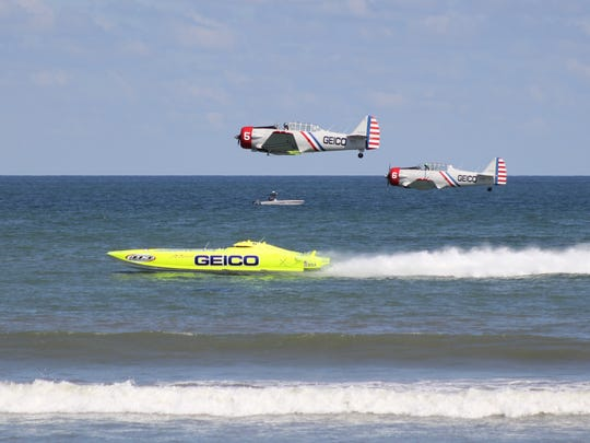 The GEICO Skytypers team will race the eight-time world champion Miss GEICO catamaran during their 2017 performance at the Ocean City Air Show.