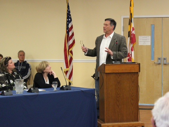 Ralph DeAngelus speaks in Ocean Pines about the future of the Yacht Club and Beach Club on April 19, 2018.