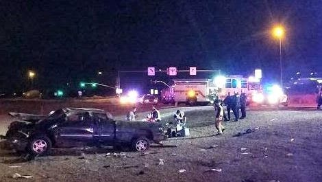 The scene of Saturday's crash in Apache Junction that critically injured two woman.