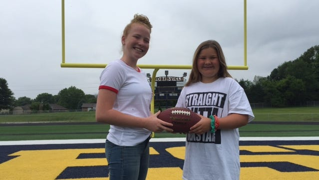 Hannah Hillman (left) and Carley Neely are two girls who will participate in the Indiana Girls Tackle Football League.