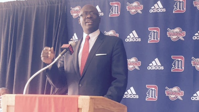 Detroit Mercy basketball coach Bacari Alexander speaks to the media Tuesday, Oct. 11, 2016.
