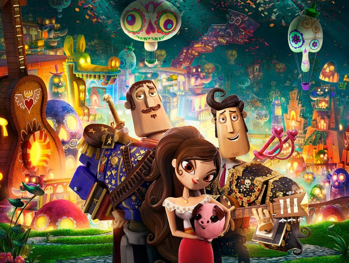 """""""The Book of Life"""" is a 3-D animated adventure from director Jorge Gutierrez and producer Guillermo del Toro. It follows three best friends --  Joaquin (Channing Tatum, left), Manolo (Diego Luna)  and Maria (Zoe Saldana). """"It's a romance, it's a comedy, it's full of action,"""" says Gutierrez, who worked for 14 years to bring it to the screen. """"The movie has a ton of heart."""""""