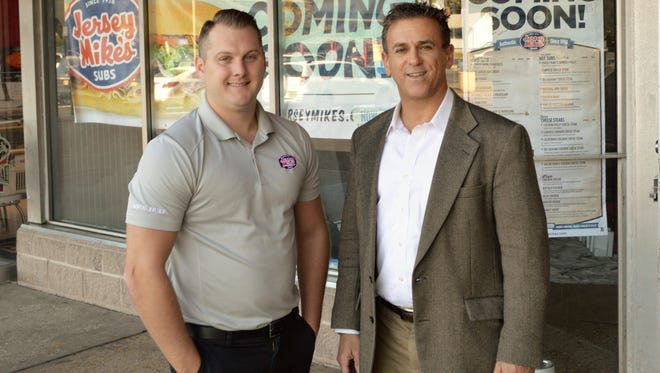 Chris Rigassio, left, operator of the Jersey Mike's Subs that recently opened in Spotswood, is pictured with broker Gary Krauss of Pierson Commercial.based in the Englishtown section of Old Bridge.