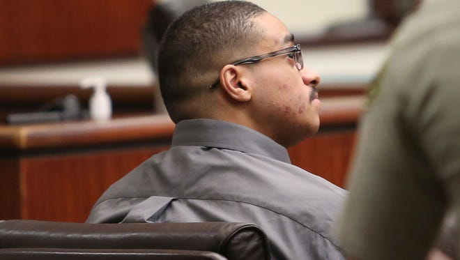 John Felix attends a hearing at the Larson Justice Center in Indio, August 11, 2017.  Felix has been charged with the slaying of two Palm Springs Police Officers in 2016.