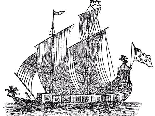 """Le-griffon"" by Father Louis Hennepin - Father Louis Hennepin's ""Nouvelle Decouverte"" (Utrecht, 1697). Licensed under Public Domain via Wikimedia Commons - https://commons.wikimedia.org/wiki/File:Le-griffon.jpg#/media/File:Le-griffon.jpg"