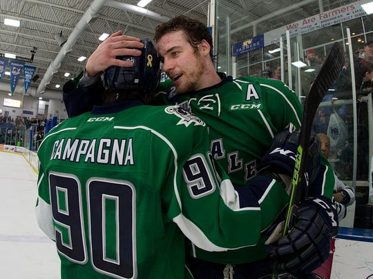Plymouth Whalers players Mathew Campagna and Sean Callaghan