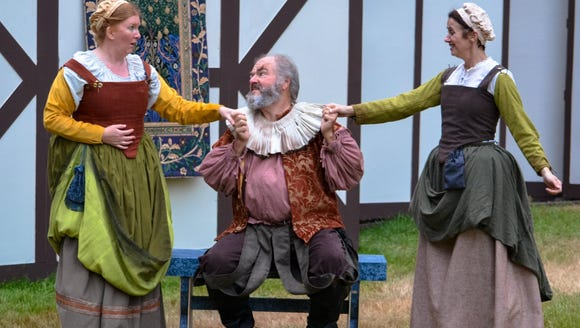 "John Ellis (with castmates Ali Budge, left, and Jennifer Hodges), is a Best Lead Actor nominee for his portrayal of Falstaff in BPA's ""The Merry Wives of Windsor."""