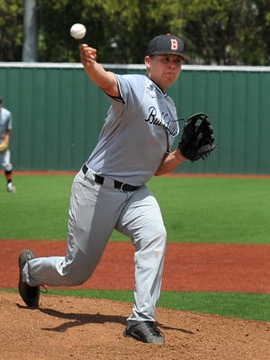 Burkburnett High School Bulldog's Wyatt Grant pitched against Iowa Park Friday afternoon the District 6-4A championship.
