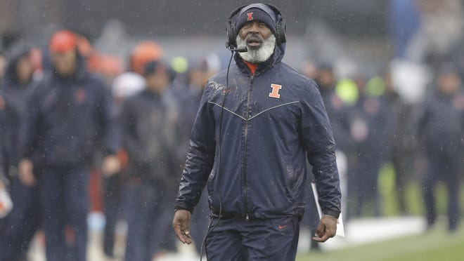 Illinois football coach Lovie Smith looks on during a game last season against Purdue in West Lafayette, Ind. The Illini host the Boilermakers at 11 a.m. Saturday in Champaign.