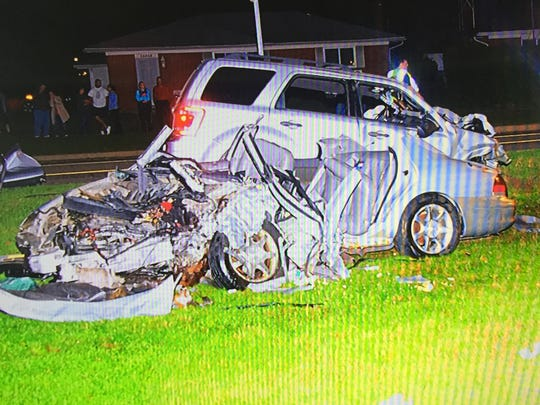 A picture of the aftermath of a Sept. 11, 2015, head-on, drunken-driving accident in Sterling Heights that killed Diana Pozderca, 17, of Sterling Heights.