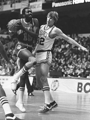 FILE -- New York Knicks Earl Monroe drives against Boston Celtics Jeff Judkins in Boston in this Feb. 11, 1979 photo. (AP Photo/File)