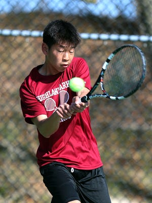 Highland Park's Patrick Lin won at first singles at the GMC Tennis Tournament finals on Saturday, April 21, 2018 at Thomas Edison Park.