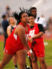 Alaina Omonode of West Lafayette watches her effort