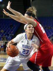 MTSU's Gabby Lyons pushes her way toward the basket around Martin Methodist's Abby Clayton, during an exhibition game, on Thursday Nov. 6, 2014.