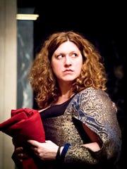 """Allison Glenzer (Joan Henslowe) in rehearsal for """"Shakespeare's"""
