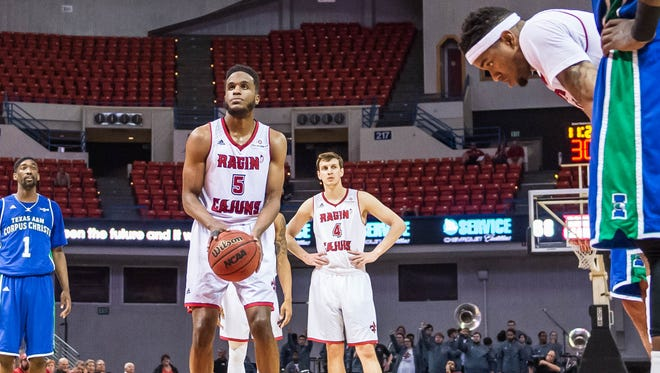 UL's Kasey Shepherd at the line for two free throws against Texas A&M- Corpus Christi last Wednesday.