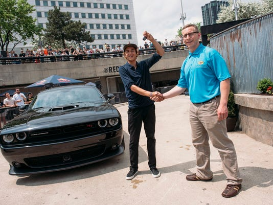 Curren Caples gets keys to Dodge Challenger presented by Pennzoi