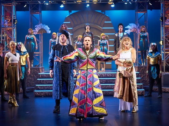 """Lance Bordelon, center, as Joseph and company in """"Joseph and the Amazing Technicolor Dreamcoat"""" at Flat Rock Playhouse."""
