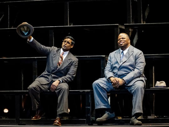 """In """"The Summer King,"""" Sean Panikkar, left, is cast as the reporter  who championed the career of Josh Gibson (Lester Lynch, right)."""