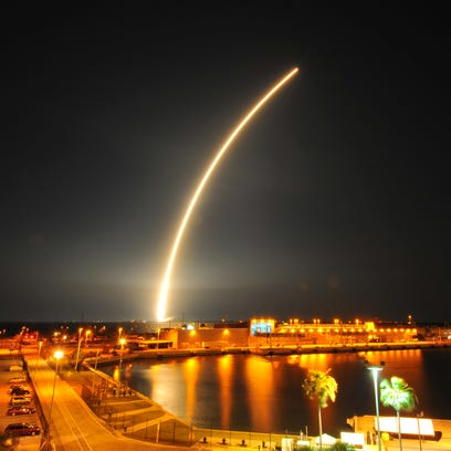 SpaceX's Falcon 9 rocket is seen launching from Cape