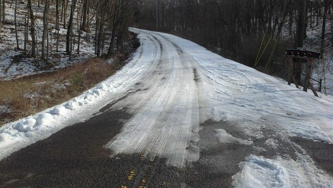 Metro Schools' Snow Patrol surveyed roads during the recent winter storm. In parts of Davidson County it found icy and dangerous roads such as Freeman Hollow Road on Feb. 24.