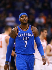 Oklahoma City Thunder forward Carmelo Anthony against the Phoenix Suns at Talking Stick Resort Arena.