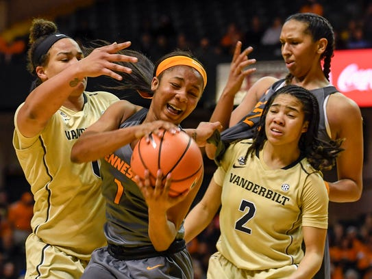 Vanderbilt Commodores Kayla Overbeck (0) fouls Tennessee