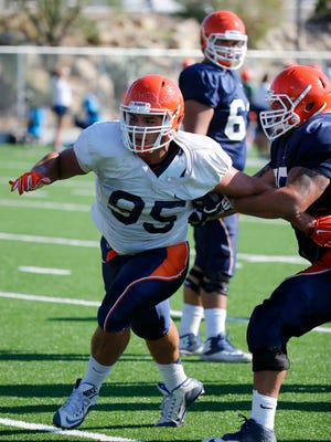 UTEP defensive lineman Trace Mascorro puts a move on an offensive lineman during practice in September as the Miners prepared for the 2017 CUSA opener against the Rice Owls in Sun Bowl Stadium.