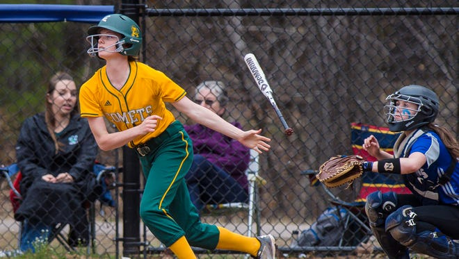 BFA's Caitlyn Dasaro follows her hit against Colchester in Colchester on Tuesday May 1, 2018.