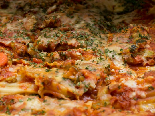 Vegetable lasagna sits ready be served to students