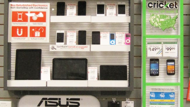 A look at Cricket Wireless products in a GameStop store.