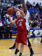 Riverheads' Blake Bartley is fouled while shooting by Cumberland's Bria Anderson during the first half of their Region 1A East girls basketball tournament consolation game on Saturday, Feb. 25, 2017, at Cumberland High School in Cumberland, Va.