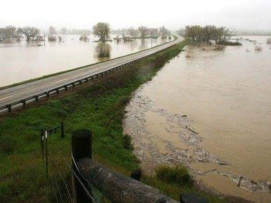 The Musselshell River is flooding in southcentral Montana near Ryegate.