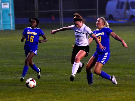 Maddy Pittman (5) of Harrison scored three goals to help lead Harrison to the 6-1 win over Northwest on Tuesday. The goals helped Pittman break the single-season record for goals in the SWOC with 34 goals scored.